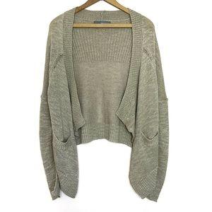 360 Sweater Beige High Low Linen Cardigan Sweater